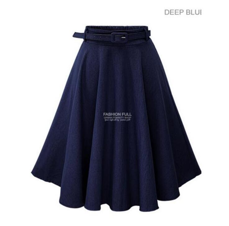 Women A line High Waist Long Midi Denim Flare Party Vintage Elegant Skirts