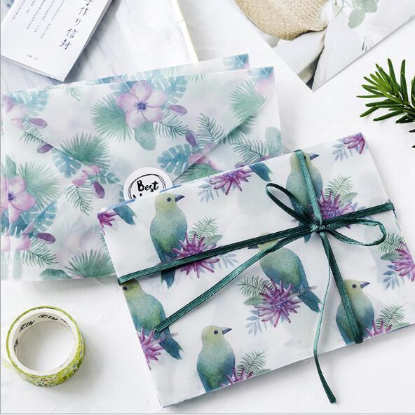 3pcs/Pack Beautiful Flower Sulfuric Acid Paper Postcard Gift Envelope Birthday Cards Envelopes School Stationery