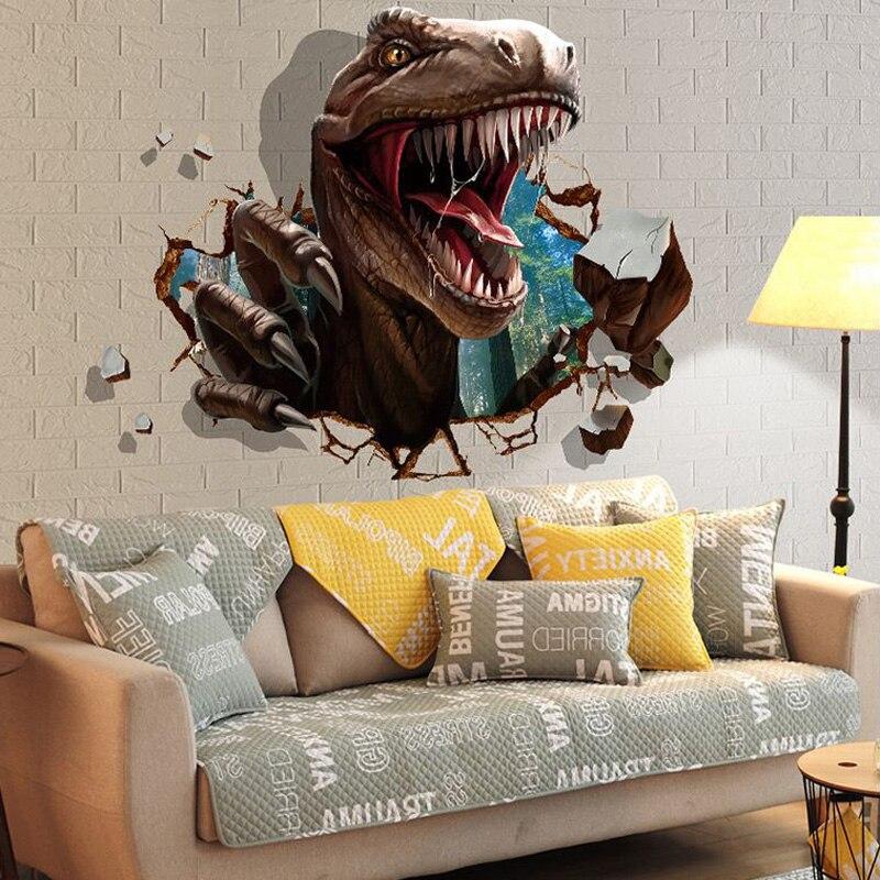 3D динозавров стены наклейки детей номеров динозавров нападение Спальня гостиная украшения Настенная home decor Наклейки надписи обои