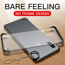 Luxury Clear Frameless Case For iPhone X XS Max XR 6 6s 7 8 Plus i Phone 8Plus 7Plus Slim Hard Matte Transparent Cover With Ring(China)