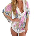 Printed summer short jumpsuit Half sleeve flower print jumpsuit overalls Deep v neck cutout at back  Sexy bodysuits overalls