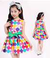 Toddler girls dress 2016 new fashion colorful polka dots princess party dress kids summer sleeveless tutu dresses 3T~12