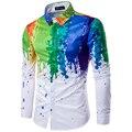 Новое Прибытие Мужчины Рубашка С Длинным Рукавом Мужчины Печать Красочные Рубашки Дизайн Моды Радуга Шаблон Рубашка camisa masculina Рубашка мужчины