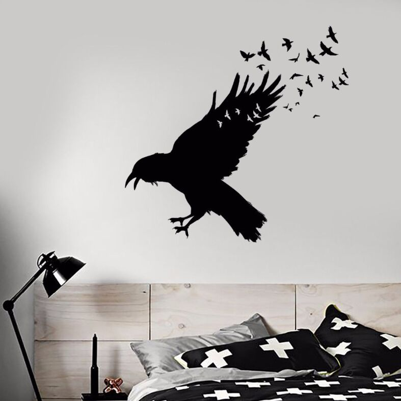 daf24850bb Vinyl Wall Decal Black Raven Flock Of Birds Wall Sticker Gothic Style Home Decor  Birds Animal Vinyl Wall Sticker Decor AY420