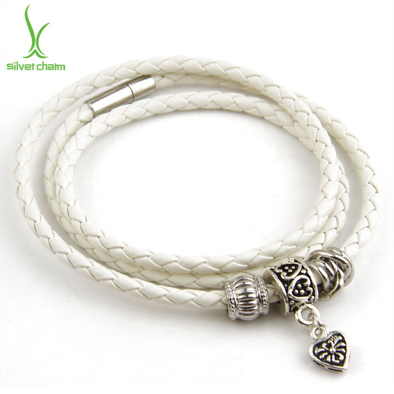 Leather Wrap Charm Bracelet: Wholesale Silver Charm Black Leather Wrap Bracelet For