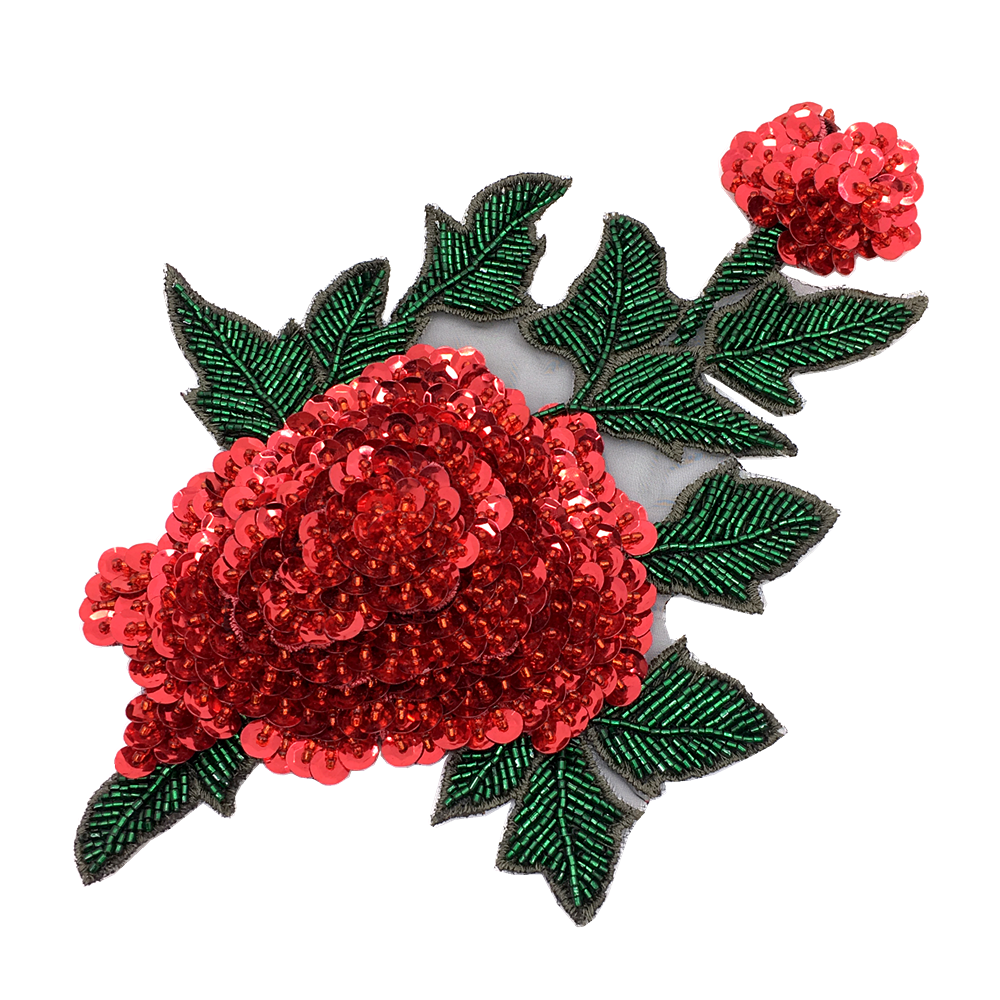 Flower Patches For Clothing Sequin Embroidery Patch Beaded Applique Clothes Stickers Parches Bordados Para La Ropa Sew On AC1422
