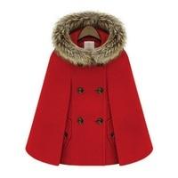 New Retro 2015 manteaux d'hiver pour femmes Style britannique Cap châle manteau Cape Femme femmes manteau de laine A872