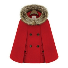 New Retro 2015 Winter Coats For Women British Style Cap Shawl Cloak Cape Femme Women Wool Coat A872(China)