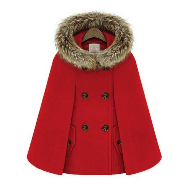 Nuevo Retro 2015 abrigos de invierno para mujeres estilo británico Cap mantón del cabo del capote Femme mujeres abrigo de lana A872