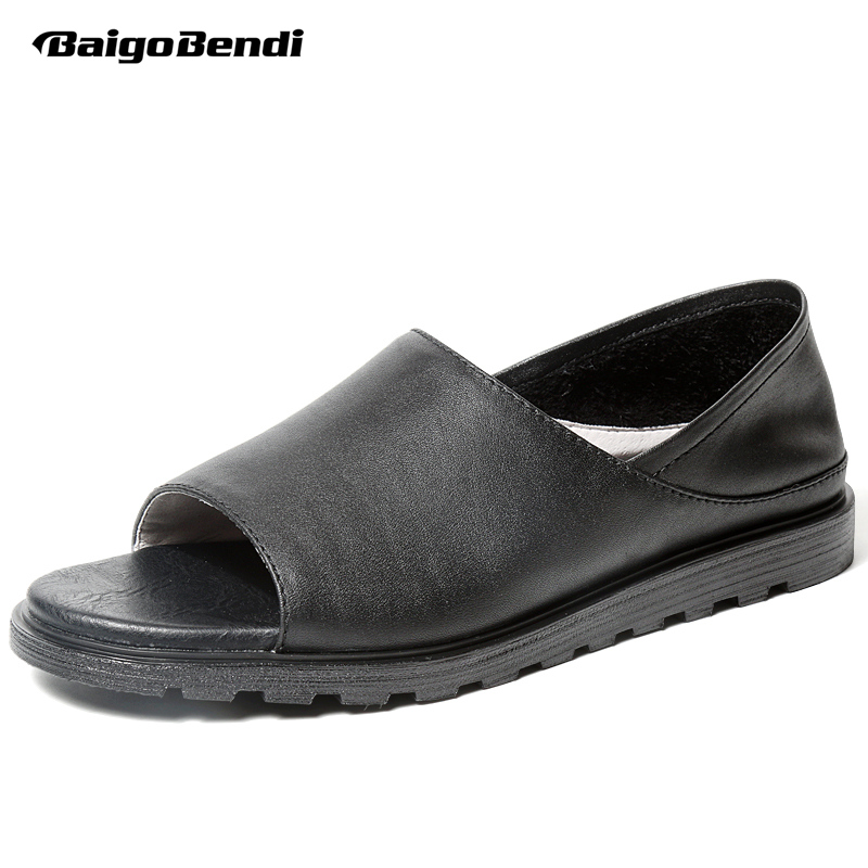 Top Quality REAL Leather Leisure Men Gladiator Sandals Black Slides Man Casual Summer Slippers Beach Shoes