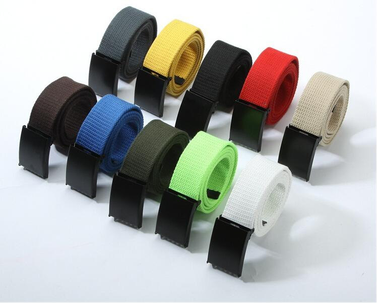 Fashion Trend New Unisex  Waist Belt Mens Boys Plain Webbing Waistband Casual Canvas Belt Wholesale 12 Colors Are Available