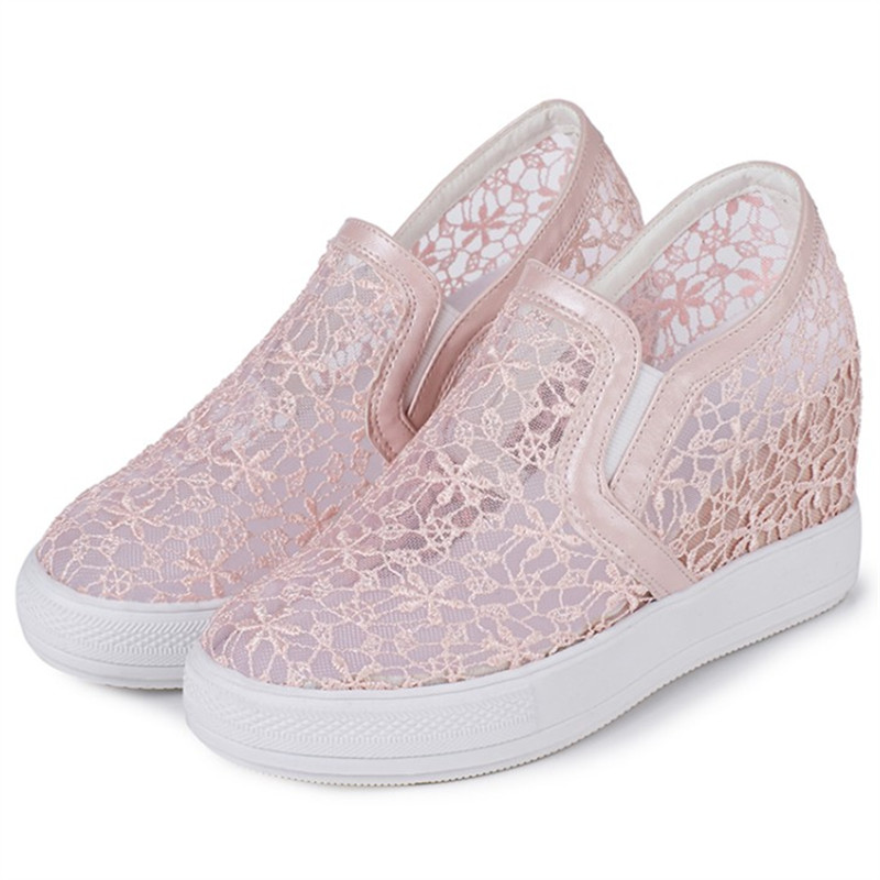 Plus size 34-45 Summer Women Sandals Lace Hollow Floral Casual Shoes Woman Breathable Platform  Increased Internal Loafers Shoes plus size 34 45 new summer women shoes casual cutouts lace hollow floral breathable platform shoe increased internal mujer shoes