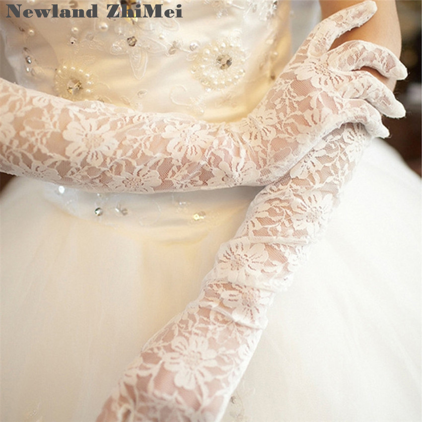 Newland ZhiMei Long White Lace Bridal Gloves Cheap Wedding Party Sheer Gloves Wedding Accessories Vintage luva de noiva(China)