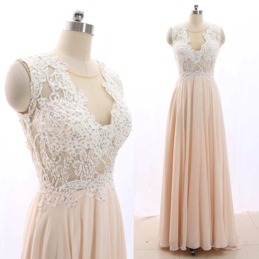 MACloth Blush A-Line Scoop Neck Floor-Length Long Crystal Chiffon   Prom     Dresses     Dress   M 265994 Clearance
