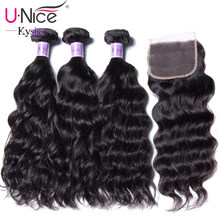 UNice Hair Kysiss Series 8A Indian Natural Wave Closure 4*4 Free Part Lace Closure With 3 Bundles Human Hair Weaves(China)
