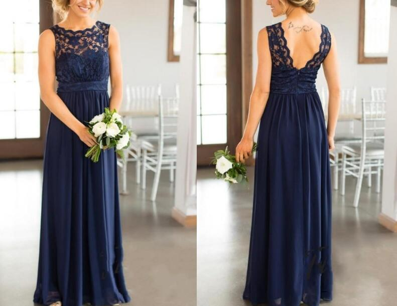 Bridesmaid     Dresses   2019 For Weddings Navy Blue Lace Appliques Floor Length Plus Size Formal Maid of Honor Back Less Party Gown