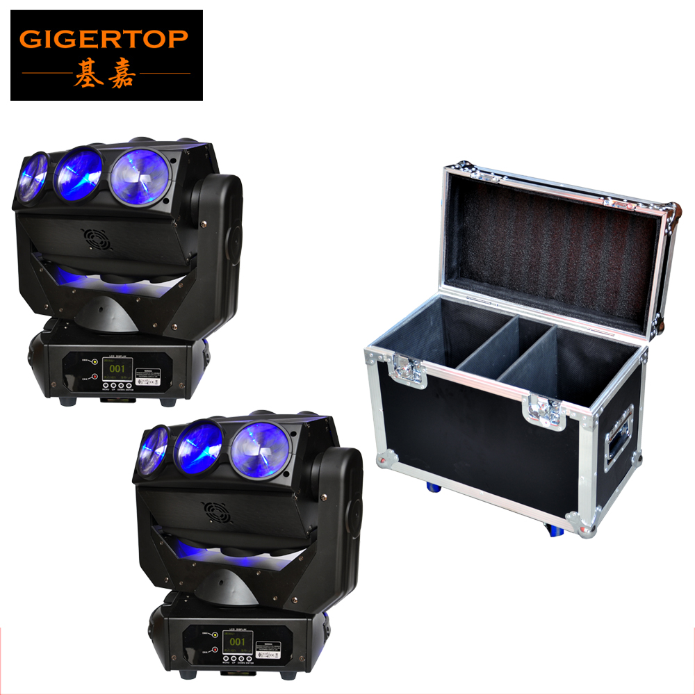2IN1 Roadcase Pack 2x CREE RGBW 4in1 LED Beam Moving Head Spider Flying DJ Disco Light Pan Spider Endless Rotate Wedding Light 9 moving head laser spider light green color 50mw 9 triangle spider moving head light laser dj light disco club event