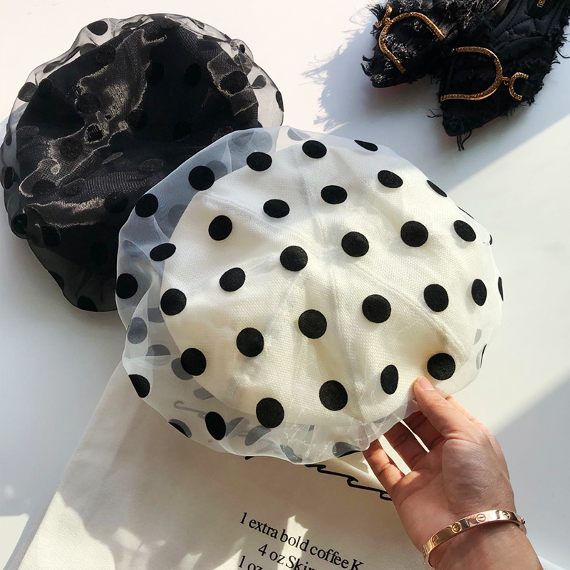 01902-midnchen870 2019 New Dot Mesh Sweet Lady Beret Cap  Women Leisure Painter Hat