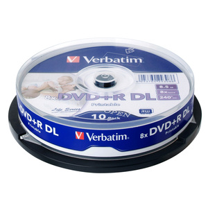 Verbatim DVD RDL 8.5GB 8X 10Pk Spindle White Wide Inkjet Printable Recordable Media Disc Double Dual Layer Blank Compact Write