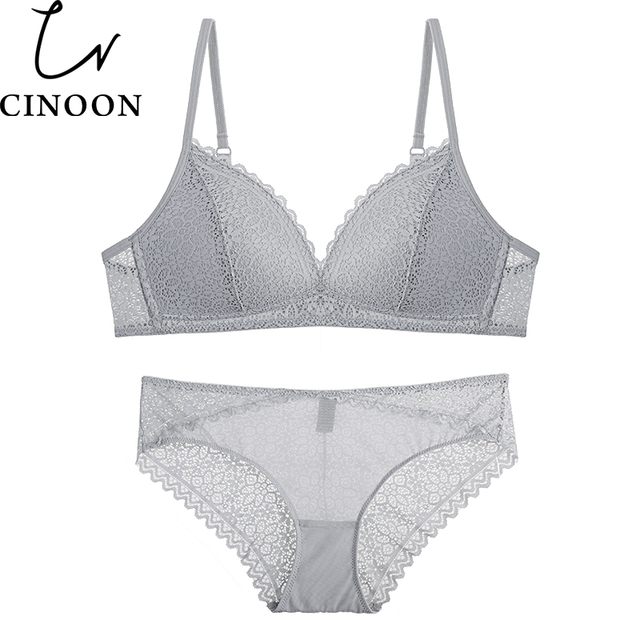 CINOON Brand Sexy Lace Lingerie Simple Comfortable Thin Cotton Cup  Underwear Bra Set Section Gathered Bralette ... a14d648f7
