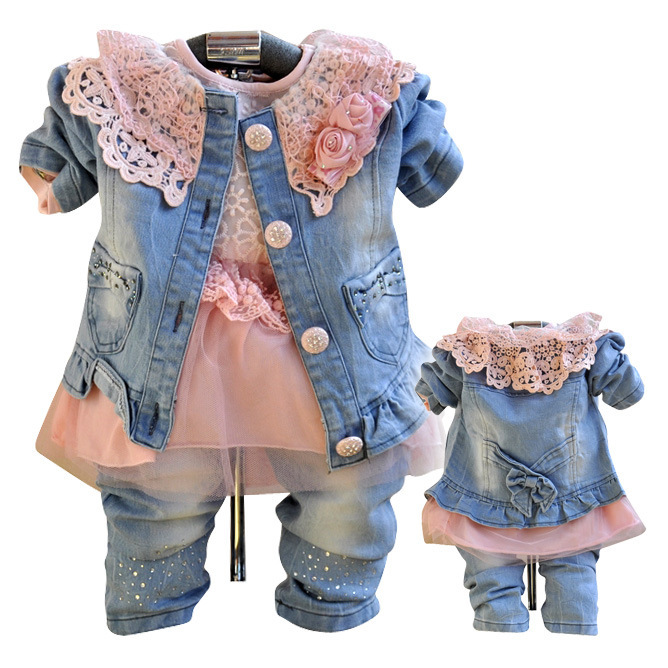 Anlencool 2018 Free Shipping The Girl Cowboy Three Piece Suit And Skirt Outfit High Quality Girls Three-piece Baby Clothing children s clothing spring high quality cowboy three piece suit of the girls flowers fashion baby suit denim set for infants