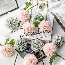 1 Bundle Cloth Silk Pompon Mum Artificial Flowers Bouquet for Wedding New Year Decoration, Plantas Artificiales Para Decoracion