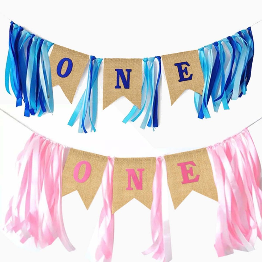 One year old Chair Banner Bunting Pink Blue Letters Hanging String Flags Happy Birthday Party Decoration Kids Baby Shower