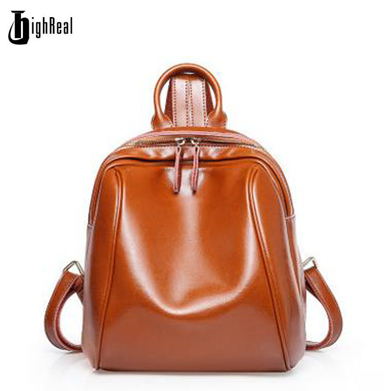 HIGHREAL Brand Luxury Fashion Oil Wax Cowhide Women Backpack Real Leather Woman Tote Bags Vintage Backpack Travel Bag J41 women s oil wax genuine cowhide leather backpack lady girl school bag crossbody shoulder travel bag for woman mr1037