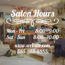 Vinyl Decal Personlized Store Name Operation Time Art Design Fashion Mural Salon Hours Sign Business Sticker W469