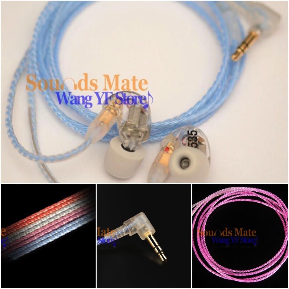 6ff4642eddad Chapado en plata 6N OFC Hifi Cable para Shure SE215 SE315 SE425 SE535 SE846  en la oreja auriculares 4 Color
