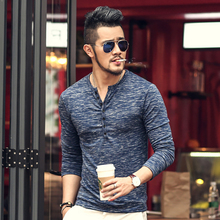 New Men Henley Shirt 2018 new Tee Tops Long Sleeve Stylish Slim Fit T-shirt Button placket Casual men Outwears Popular Design