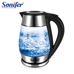 1.7L Colorful Electric Kettle Glass Transparent 2200W Household Quick Heating Electric Boiling Pot Sonifer
