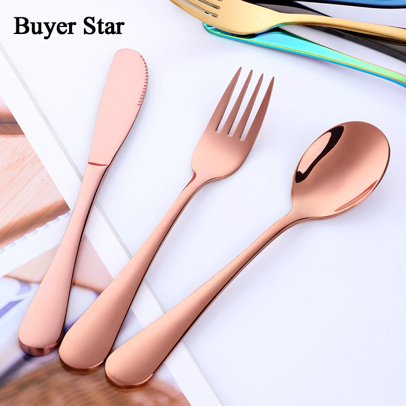 Colorful Children Tableware Cutlery Set 3 Pcs Stainless Steel Child Dinner Knives Forks Sets Food Dining Set