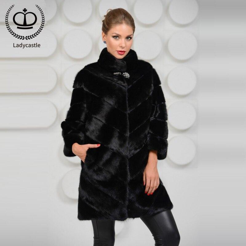 2018 New Arrival Women Genuine Mink Fur Coat Stand Collar Full Pelt Natural Mink Fur Coats Of Women Real Fur Coat Luxury MKW-043