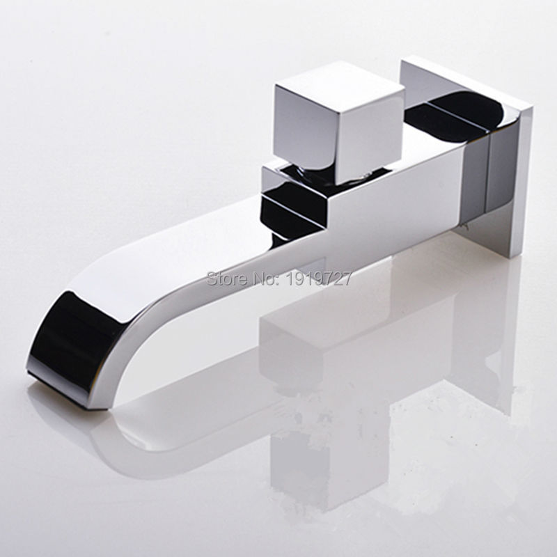 Bath Crane Only Cold Bibcock Spout Filler Faucet New 100% Solid Brass Square Style  Chrome Mixer Tap With Waterfall Water Outlet
