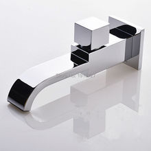 цены New Brass Waterfall Faucet Spout Filler Chrome Bathtub Mixer Tap Spout Tub With Diverter