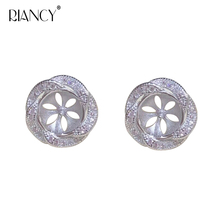купить 1pair Fashion Micro inlay stud Earrings mountings 925 sterling silver jewelry Exquisite jewelry Accessories дешево