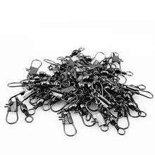 OOTDTY 50pcs Stainless steel swivels interlock snap fishing lure Connector accessories  swivel connector