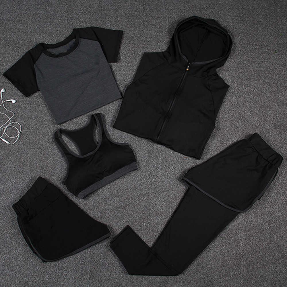 Albreda Vrouwen Yoga Sport Pak Quick Dry Bh Set 5 Stuk Vrouwelijke Korte Mouwen Shorts Lange Broek Outdoor Sportkleding running Coats