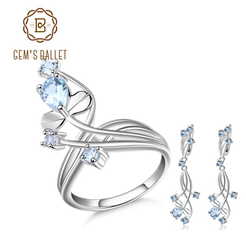 GEM S BALLET Natural Sky Blue Topaz Gemstone Vintage Jewelry Set 925 Sterling Silver Earrings Ring