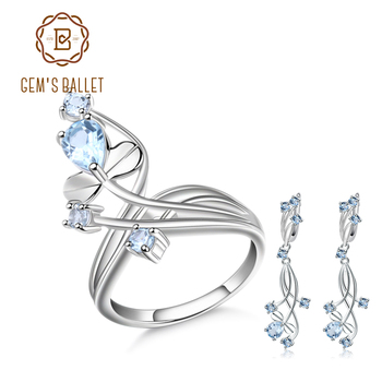 GEM'S BALLET Natural Sky Blue Topaz Gemstone Vintage Jewelry Set 925 Sterling Silver Earrings Ring Set For Women Wedding Jewelry