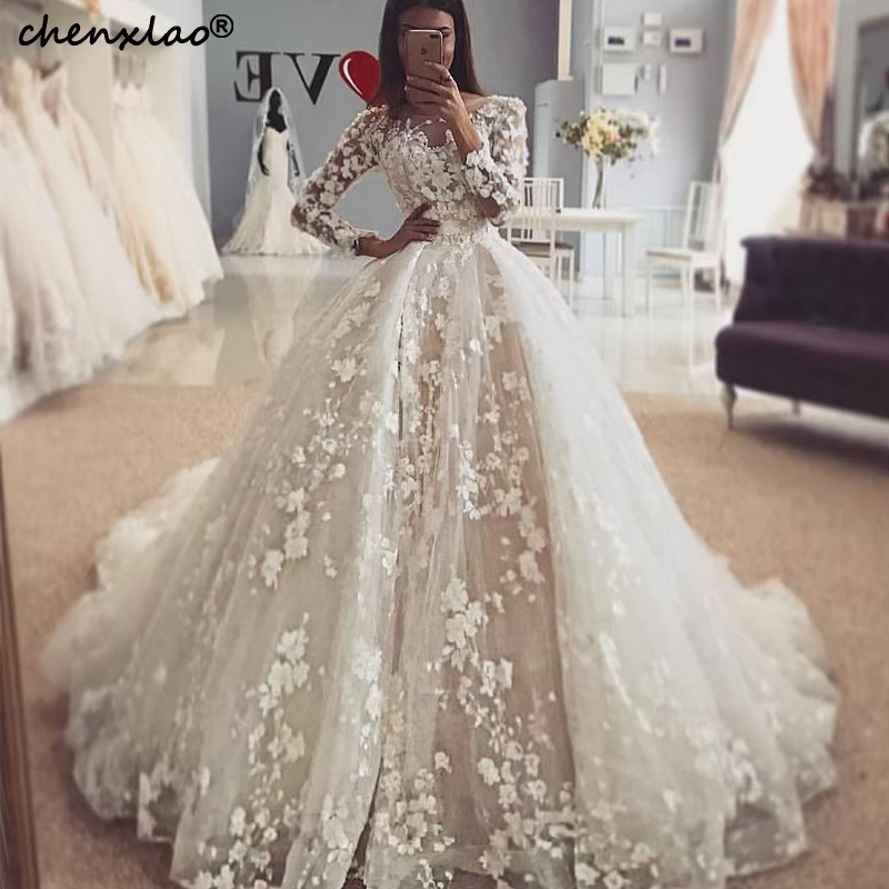 Ball Gown Long Sleeves Wedding Dress Jewel Neck Lace 3D Flower Bridal Gowns Court Train Wedding Dresses Vestido De Noiva