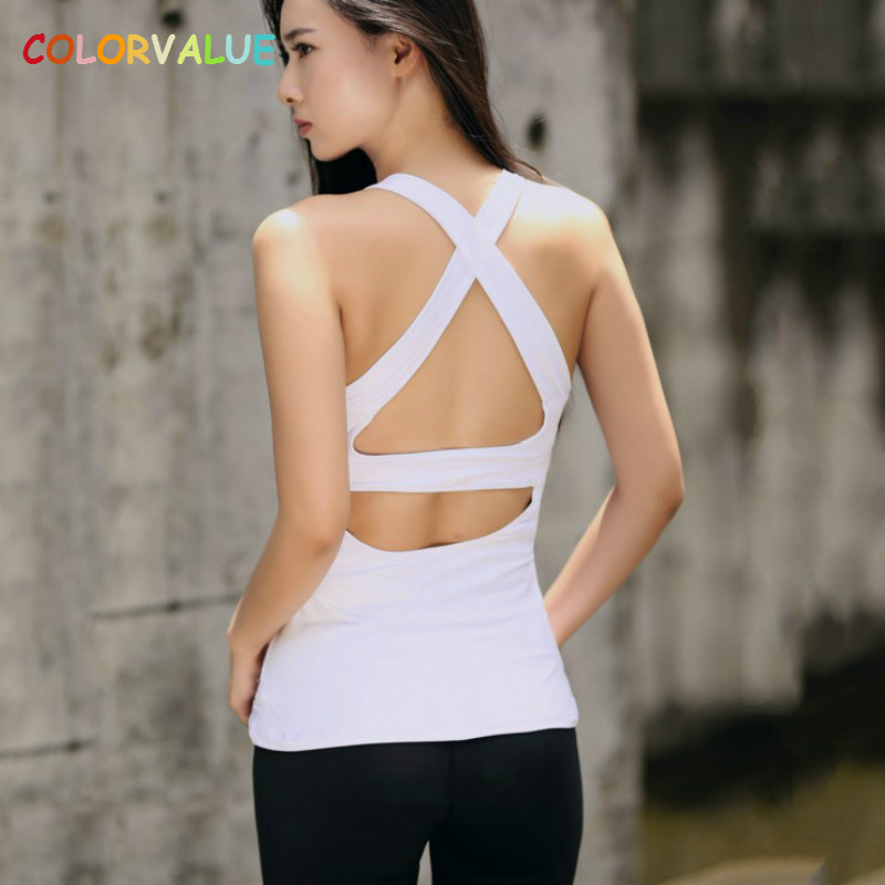 Colorvalue Sexy Hollow Out Sport Vest Women Slim Fit Padded Fitness Gym Tank Tops Breathable Soft Back Cross Yoga Workout Tops