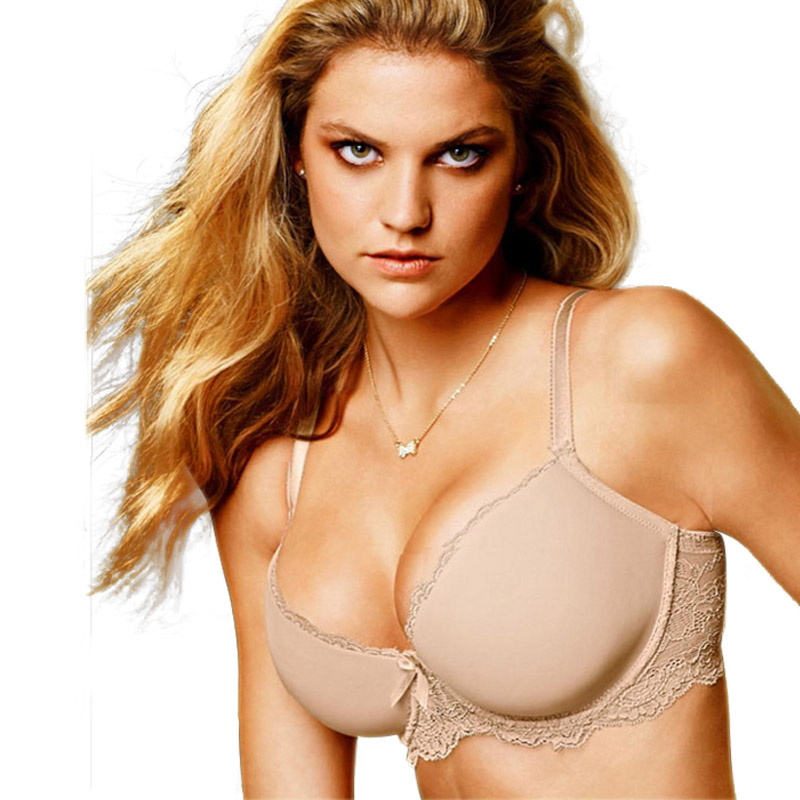 Image 1 - MiaoErSiDai Plus Size Lace Bra Khaki Soutien Gorge Basic Shirt Bras For Women 30 32 34 36 38 40 42 44 46 C D DD DDD E F G #7610-in Bras from Underwear & Sleepwears