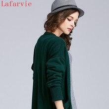 Lafarvie 2016ใหม่ขายร้อนฤดูใบไม้ร่วงของผู้หญิงแฟชั่นแคสเมียร์เวตเตอร์ถักคอวีถักเวอร์ชั่นเกาหลีบางหญิงขนยาวเสื้อกันหนาว