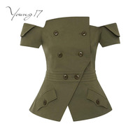 Young17 Sexy Top 2017 Button Women Slash Neck Army Green Plain Sexy Backless Party Short Party