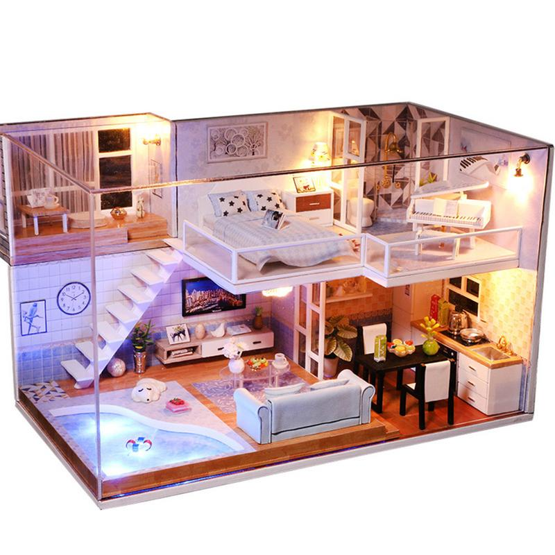 Doll House Furniture DIY Miniature Dust Cover 3D Wooden Miniaturas Dollhouse Toys for Child Birthday Gifts