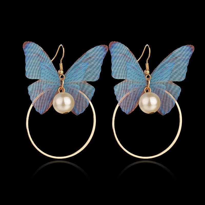 מופע מסיבת לירות רחוב אופנה טרי רוח רומנטי צבעוני כנפי פרפר גדול מעגל עגיל טיפת פנינה קסם נשים