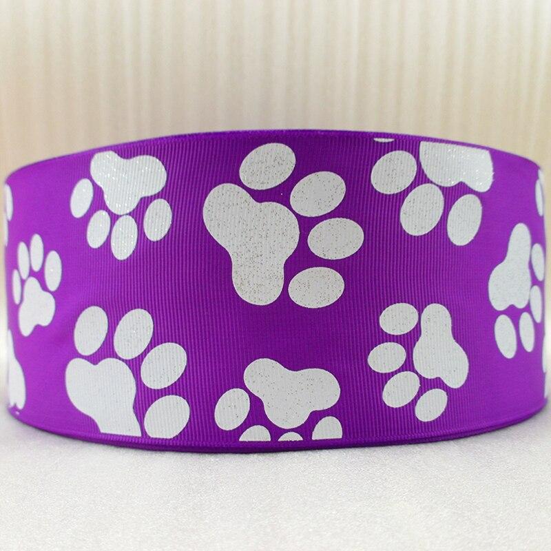 """3 """"(75mm) glitter hund füße footprint band gedruckt polyester band 50 yards, hochzeitsgeschenk wrap, 50Y42810-in Bänder aus Heim und Garten bei  Gruppe 3"""