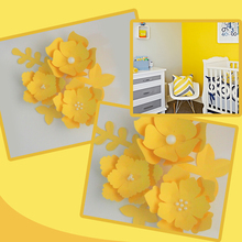 Handmade Yellow Easy Made DIY Paper Flowers Leaves Set For Nursery Wall Deco Baby Shower Girls Room Backdrop Video Tutorials